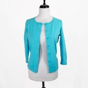 TALBOTS • Bright Blue 3/4-Sleeve Cardigan